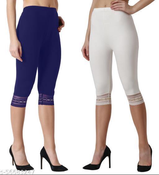 Women's Cotton Lycra Spandex Short Capri Legging Lace Navyblue-Cream