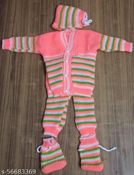 Born baby winter woolen set sweater pant cap and socks