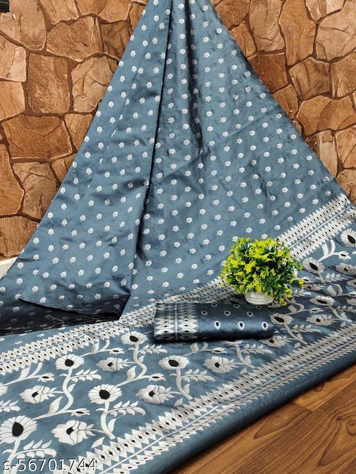 Adesh Enterprise Beautiful pallu Designed Banarasi Jecard Silk Party Wedding Festive Saree