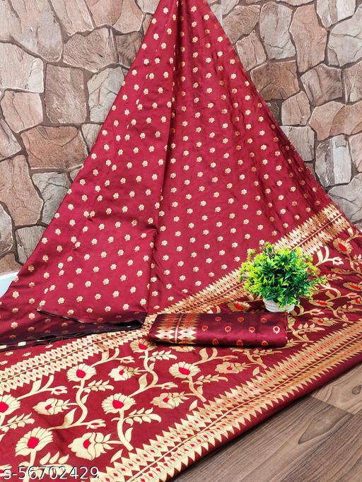 Mital Enterprise Beautiful pallu Designed Banarasi Jecard Silk Party Wedding Festive Saree