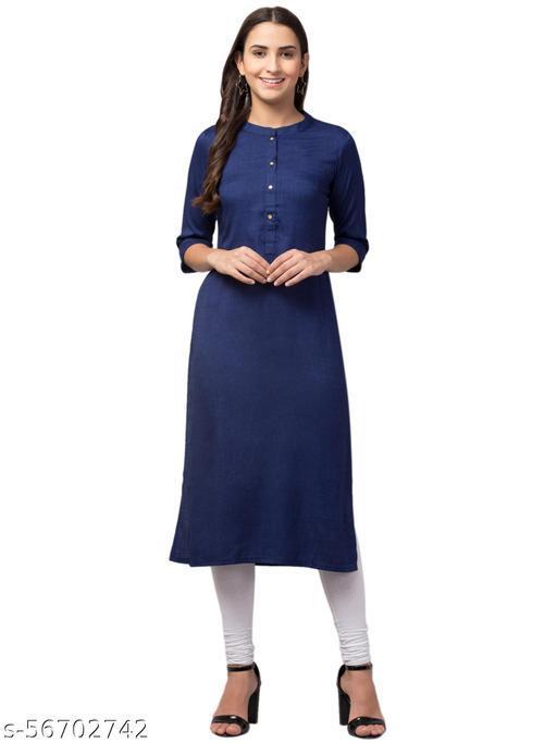 Waahiba Women's Cotton Ragular Fit Kurta (Navy Blue)