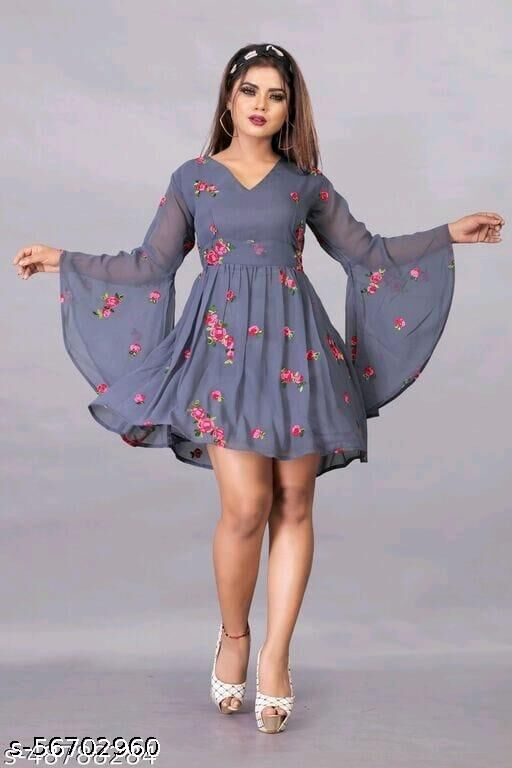 Trendy Georgette Fabric Embdroidery Work Tops
