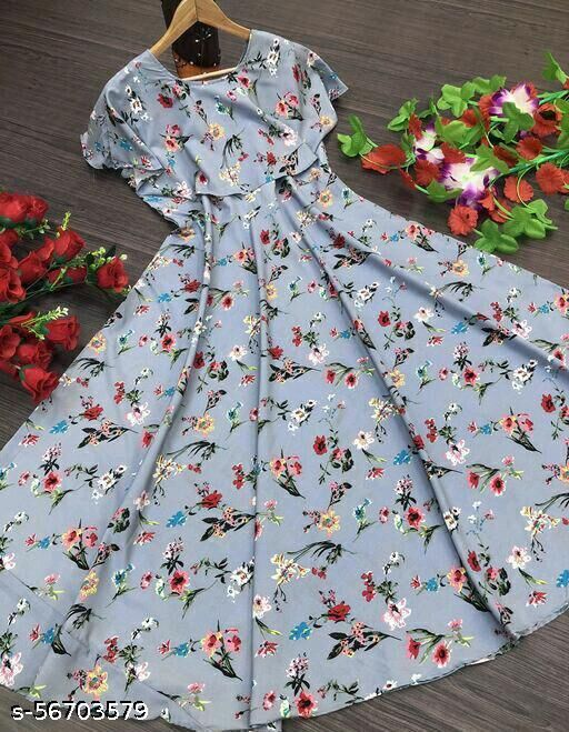 Women's Floral Printed cap sleeve Gowns