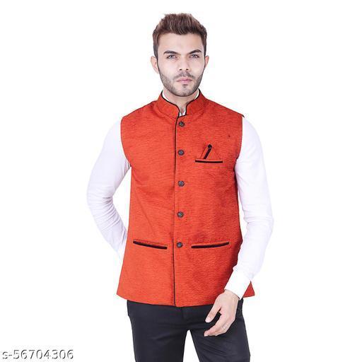 PSK Exports Men's Cotton Blend Solid NehruValvet Jacket/Ethnic jackets