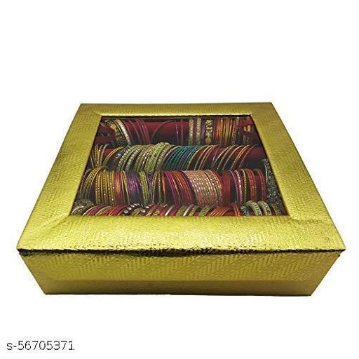 Wooden Velvet Bangle Box Bangle Organizer Box Jewellery Storage Box Square 4 Rod with Magnetic Lock (Gold)