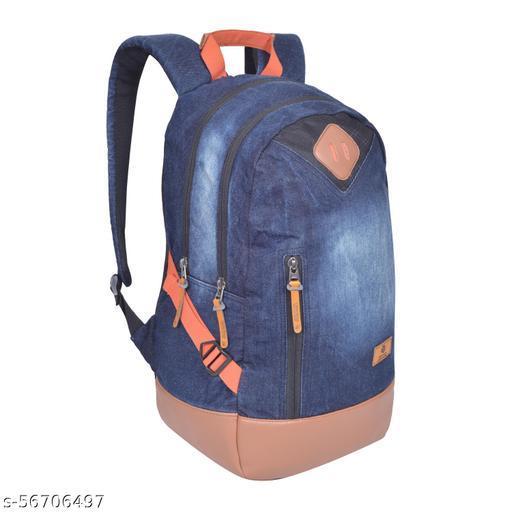 MoveOn Medium 30 L Laptop Backpack Medium DENIM BACKPACK  (Blue, Orange)