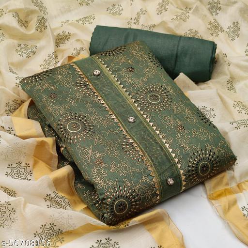 Yashruti Fashion Chanderi Cotton Fabric Foil Work women Suits with Dupatta UN-Stitched