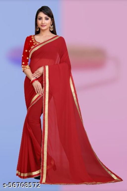 DWARKESH CREATION PRESENTING PLAIN GEORGETTE SAREE WITH BEAUTIFUL LACE AND EMBROIDERY WORK BLOUSE.