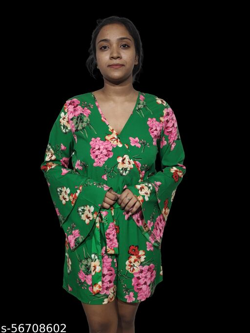 ASIANDEED Girls Floral Dress OR Playsuit / Jumpsuit with Frill Sleeves