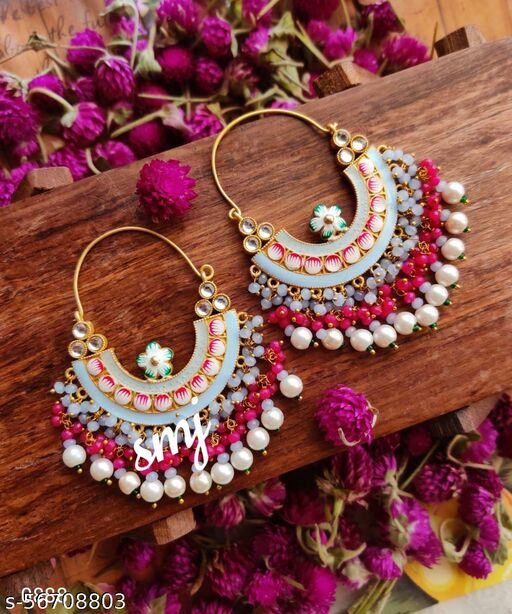 Brass cutting Ring Chand Meenakari earring with double color beads cluster