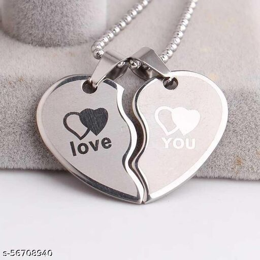 VIEN'S New Couple Lovers Heart Love Locket For You. Jewelry For Friendship Gift (2 pieces - his and her)Stainless Steel Locket Set Copper Plated Metal Necklace Set Copper Plated Metal Necklace Set