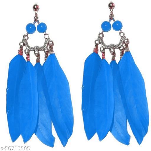 Weariton Beautiful Feather Tassel Vintage Stylish Fancy Party Wear Tribal Western German Silver Drops & Danglers Earrings