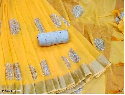 New womens chanderi saree with mirror work blouse