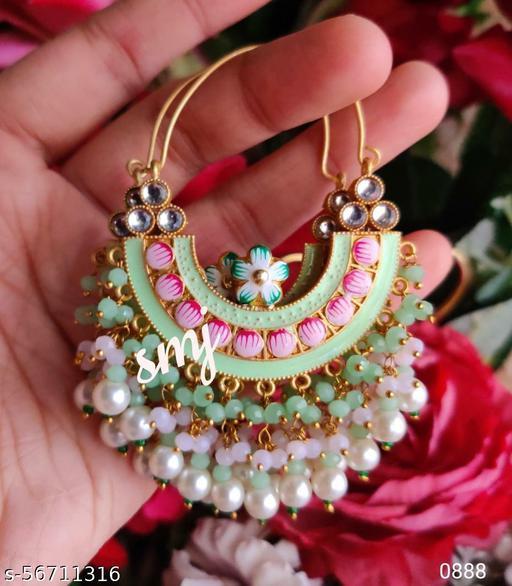 Brass cuttings Chandbali meenakari earrings with beads cluster