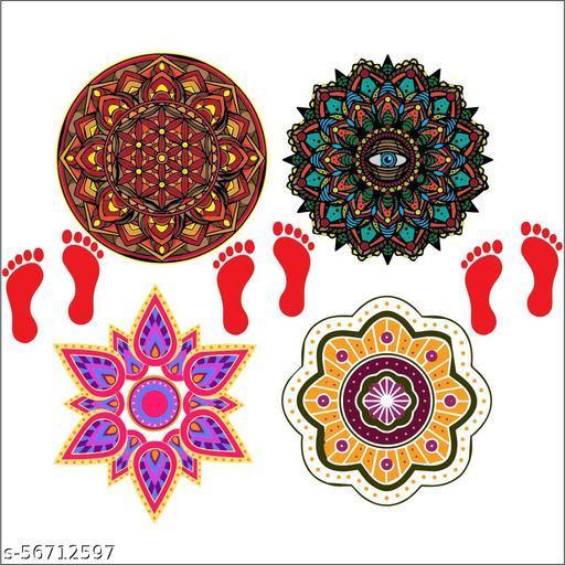 Decorative rangoli sticker for diwali home  decoration instulation self adhesive full waterproof muticolor covering area [59x59cm]