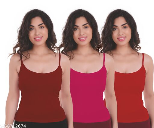 LOVAMI Women's Cotton Camisole / Slips (Pack of 3)