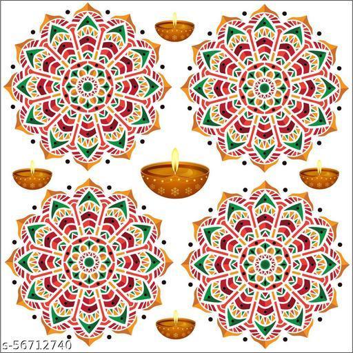Creative   floor rangoli combo self adesive rangoli sticker multicolor full waterproof 3d,covering area [59x59cm] Rangoli Stickers