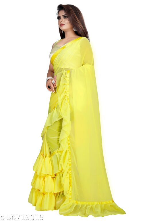 Solid Bollywood Satin Blend, Georgette Saree  (Yellow)