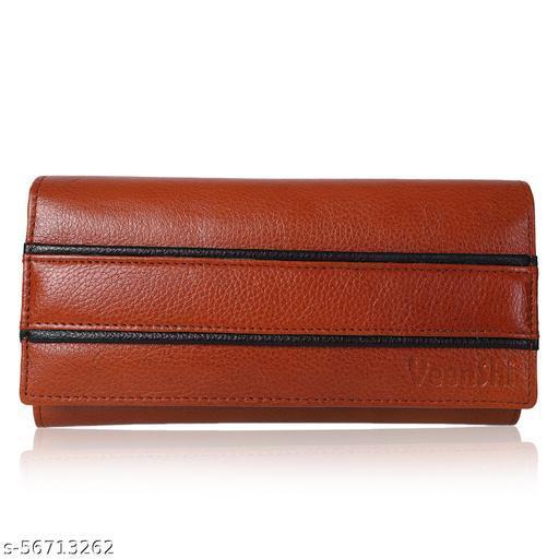 VEENSHI Leather Wallet for Women - Beige