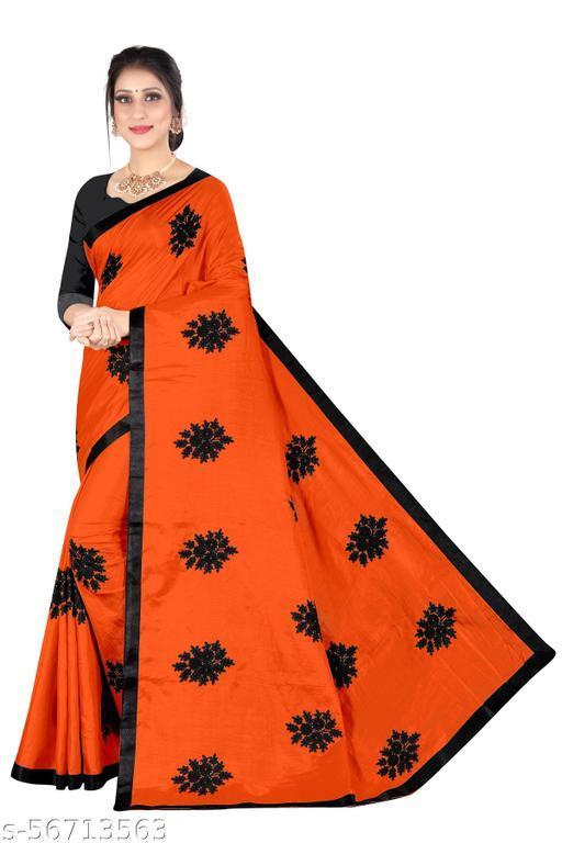 Shree Shree Thread & Dori Women's Vichitra Silk Chain Embroidered Party Wedding Fashion Sarees Peach Color