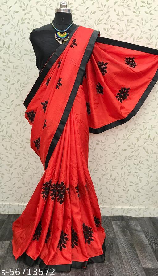 Shree Shree Thread & Dori Women's Vichitra Silk Chain Embroidered Party Wedding Fashion Sarees Red Color