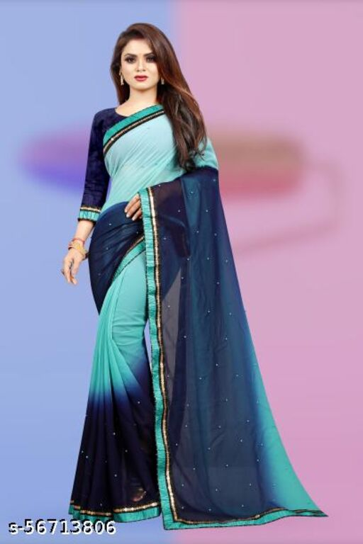 MAPLE LEAF presenting georgette saree with two colour concept with moti work.