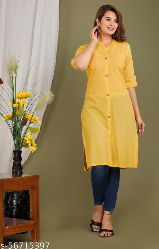 yellow's cotton solid kurti
