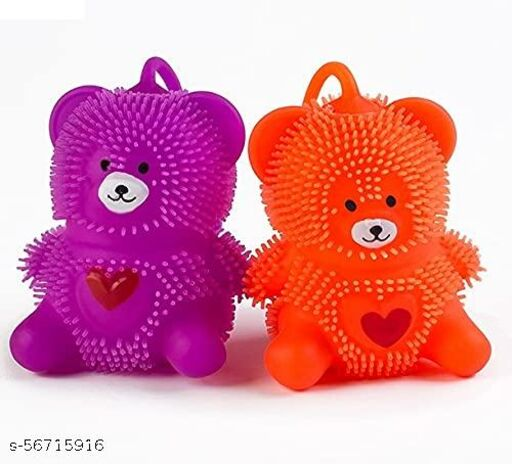 Cute Teddy Bear Shape Led Flash Squeezable Stress Squishy Toy – Puffer Balls (Pack of 2)