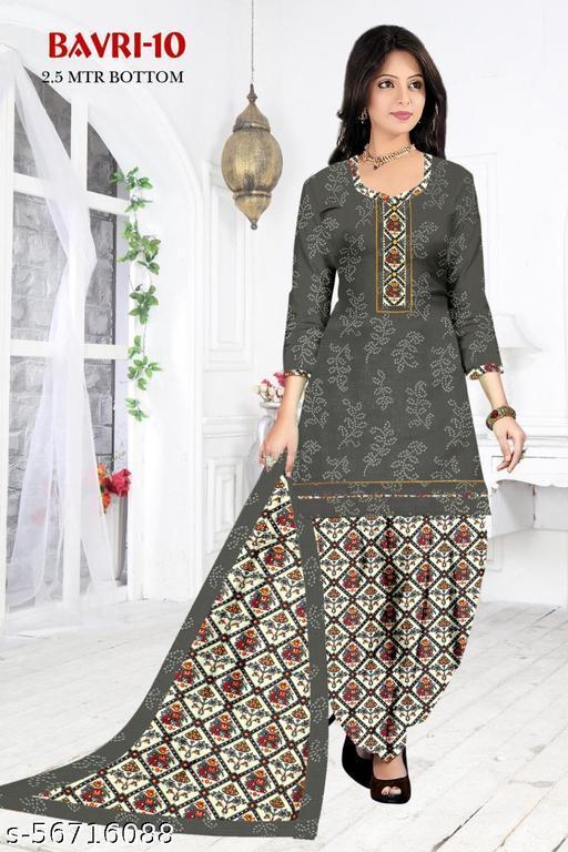 Woman's Ikkat Designer Printed patiyala semi-stitched Suit And Slwar Set Grey