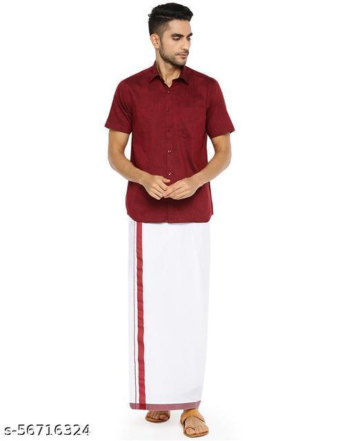 Match & Catch Colour Shirts & Fancy Border Dhoti shirt+2.00 meter dhothi pack.(set)