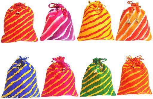 Muccasacra Festival & Wedding Gifting Multicolour Lehariya Satin Shagun Gift Pouch (pack of 8) Potli