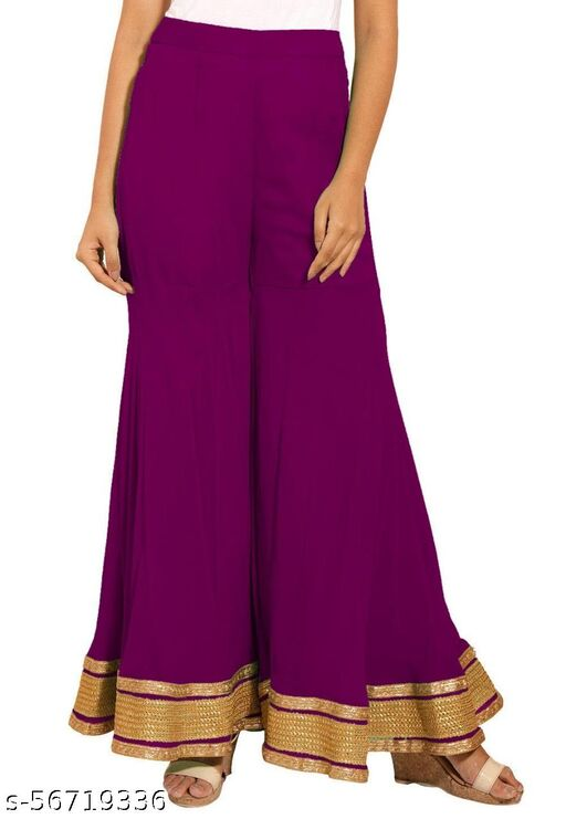 WOMEN'S Gotta Patti Sharara/Plazzo Fabric is soft, lightweight and breathable Work Disclaimer 100 % PURE Cotton Free size