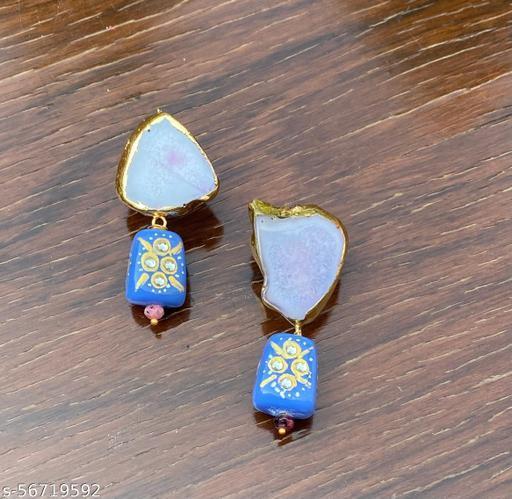 Kalakari real agate stone and tumble bead earrings.