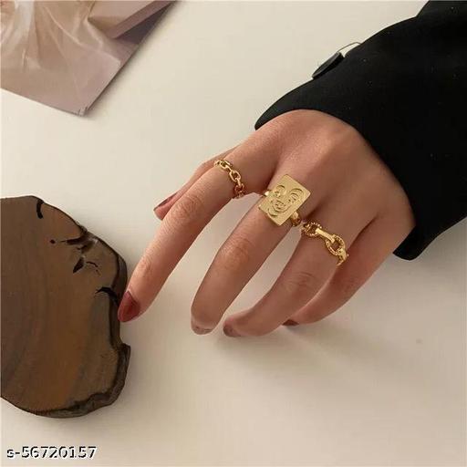 Yu Fashions Bohemian Face Golden Ring Set of 3