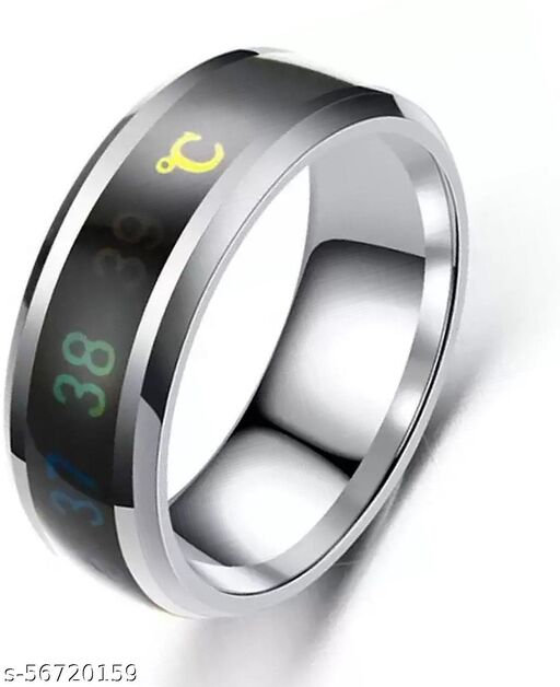 Intelligent Smart Body Temperature Monitor Latest Fashion Collections Silver Color Ring