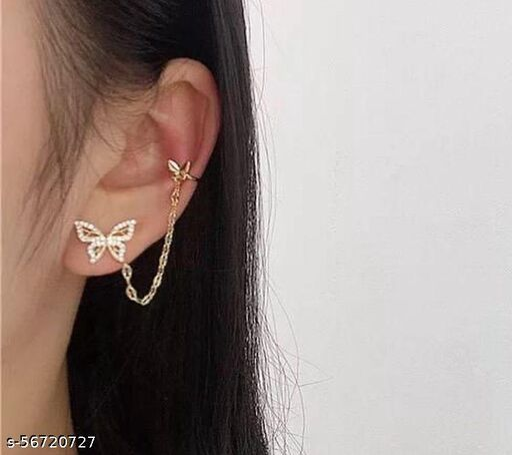Yu Fashions Unique Golden Butterfly Chain Ear hook Earrings