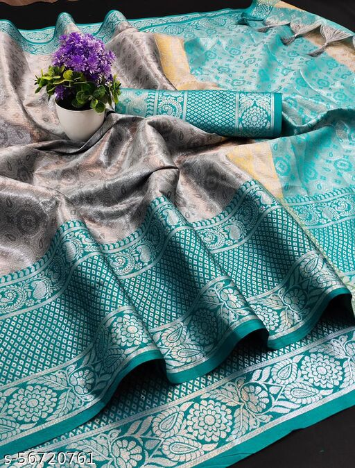 SONATA FLOWERS Heavy Kashmira Rich Cotton Silk With Rich Embossed Look In All Over Saree