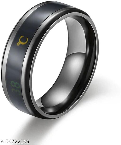 Intelligent Smart Body Temperature Monitor Latest Fashion Collections Black Color Ring