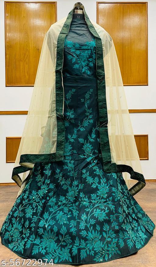 Women's Velvet Semi-Stitched Lehngha Choli - Velvet 86 - Firoji