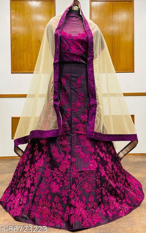 Women's Velvet Semi-Stitched Lehngha Choli - Velvet 85 - Wine