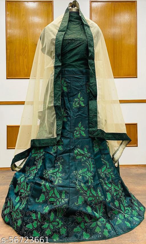 Women's Velvet Semi-Stitched Lehngha Choli - Velvet 92 - Green