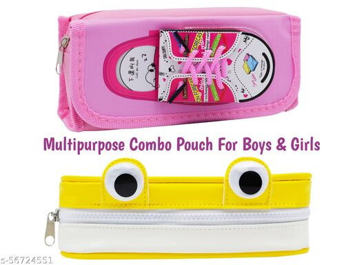 jhj-08 minar - Designer Multipurpose Combo Premium Pencil Pouch With Attached Small Sticky Notes Shoes Design