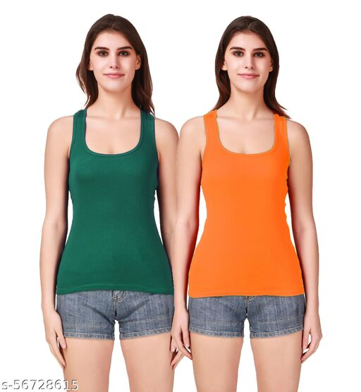 Doloom16® Camisole Racerback Tank Top / Vest Sando Inner wear for Girls and Women (Pack of 2) Green & L-Blue
