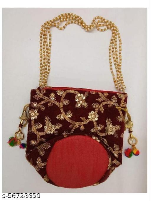Navershi collection Presents Designer Rajasthani Style Potli cotton valvet with Gota Patti Purse Women handbag Handicrafts Handmade Decorative Pure Silk Jaipuri Resh Potlis red for diwali and navratri