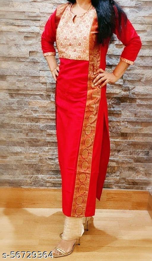 Intrigue red cotton silk kurti