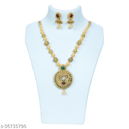 Chanchal Jewelers Presents Girls Womens Yellow Pearl Gold Plated Indian Ethnic Necklace Set With Kundan Bridal Traditional Choker Necklace Jewellery Set with Earrings for Women.