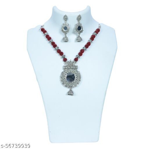 Chanchal Jewelers Presents Girls Womens Red Pearl Indian Ethnic Kundan Pearl Fancy Bridal Traditional Choker Necklace Jewellery Set with Earrings.