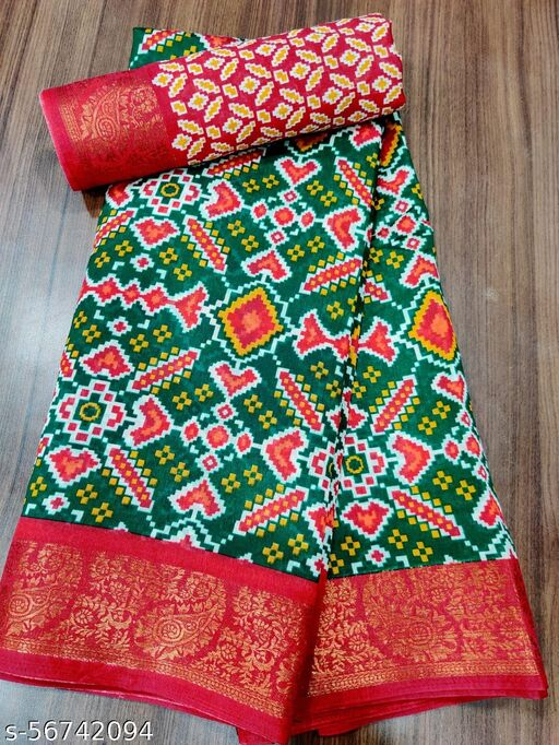 Red Soft Cotton Zari Print Saree With Printed Un-Stitched Blouse