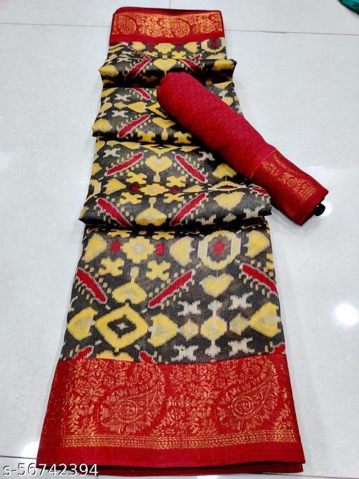 Yellow & Black Soft Cotton Zari Print Saree With Printed Un-Stitched Blouse