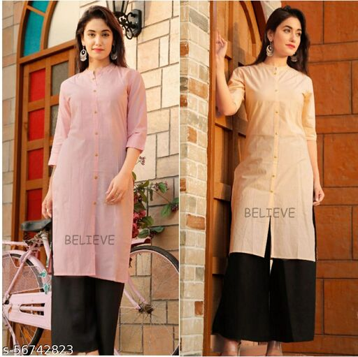 2 SOLID COLOR COTTON KURTIES COMBO PACK